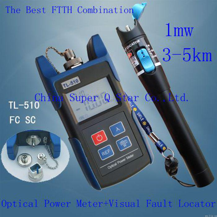 FTTH Kit TL510C -50~+26 Optical Power Meter with FC SC ST Connector +TL532 Red Laser Fiber Optic Cable Tester (Range: 3-5km