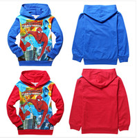 Wholesale Kids Spiderman Jacket Red - best selling 2014 new Children Clothing Outerwear baby boys 100% cotton cartoon Spiderman hoodies jackets kids long sleeve tops