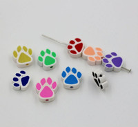 Wholesale Hot Sale Mix Color Polymer Fimo Clay Double sided Paw Print Loose Beads x15mm