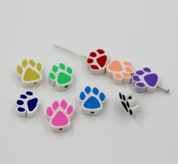 $enCountryForm.capitalKeyWord Canada - Hot Sale ! 100pcs Mix Color Polymer Fimo Clay Double-sided Paw Print Loose Beads 13x15mm (47)