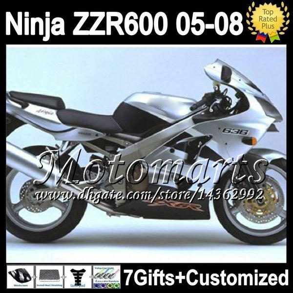 7gifts For KAWASAKI Body NINJA silvery black ZZR600 ZX636 M13178 ZZR-600 ZZR 600 636 silver black 2005 2006 2007 2008 05 06 07 08 Fairing