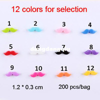 Wholesale Moustache Nail Art - Wholesale-200 pcs bag Resin Mustache Nail Art Decorations Moustache Nail DIY 12 colors for selection