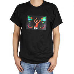 Wholesale Sound Activated Led Shirt Panel - Fashion Sound Activated LED Light Up Music T-Shirt Short Sleeve Men Tshirt With Detachable EL Panel For Party   Dance   DJ