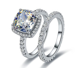 Wholesale Cushion Cut Engagement Rings - 2.55 CT High Quality Cushion Cut synthetic diamond rings sterling silver rings for Women ring engagement ring for women plated white gold