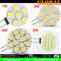 Wholesale G4 Led 12v 4w - Cheap 5 Piece Warm White G4 LED light bulbs 5050 SMD 1W 3W 4W 5W 300LM 24 LEDs chandelier Home Car RV Marine Boat indoor lighting DC 12V