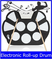 Wholesale Fiber Sensors - W758 Digital Portable 9 Pad Musical Instrument Electronic Roll-up Drum Kit new top sale free shipping