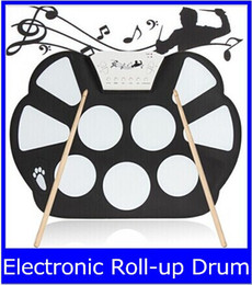 Wholesale Digital Electronic Drum Pad - W758 Digital Portable 9 Pad Musical Instrument Electronic Roll-up Drum Kit new top sale free shipping