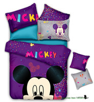 Wholesale Purple Twin Comforter Sets - Purple Cotton Comforter Sets Children Duvet Cover Bedskirt and Mattress Cover Minnie and Mickey Mouse Bedding Set King Size and Queen Size
