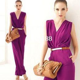 Wholesale Purple Overalls Women - HOT!OL style Jumpsuits new fashion 2014 short women V-neck sleeveless belt palazzo pants Jumpsuits high waist overalls for women