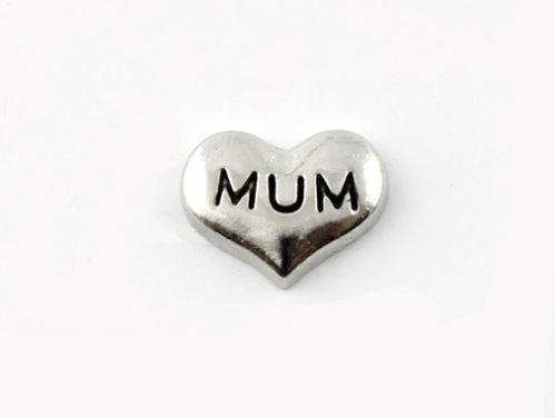 Mum Coração Flutuante Charme para Flutuar Medalhão, Medalhão De Memória, Mum Flutuante Charme