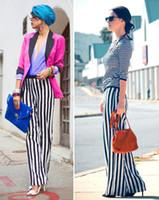 Wholesale Cargos Woman Lowers - Women's long loose pants black white stripe cargo pants Waist Stripe Chiffon wide leg pants Trousers plus size 17616
