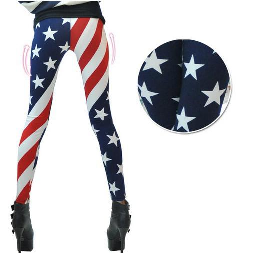 Free shipping Fashion and sexy The American flag flowers printed pants nine points milk silk women's leggings WZ012