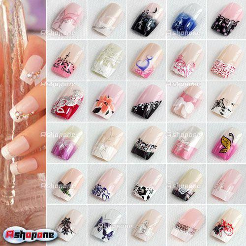 10x Pre Designed French Acrylic False Nail Full Tips With Free Nail