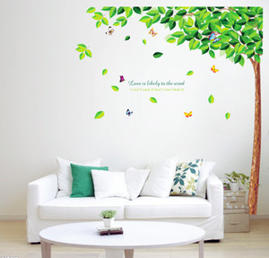 Wholesale Fresh Green Tree Butterfly Wall Stickers Removable Monkey Wall Covering Bedroom Wall Decoration Wallpaper Rolls