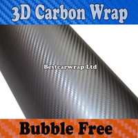 Wholesale 3d Carbon Fiber Free Shipping - 3M Quality Gunmetal 3D Carbon Fiber vinyl Carbon Fibre Car wrapping Film Bubble Free Car styling Free shipping 1.52x30m Roll