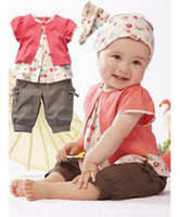 Wholesale 3pcs Kid Child Girl Infant Baby Top Pants Headband Outfit Costume Cloth M