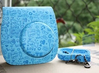 Wholesale Cartoon Camera Bag - Leather Cartoon Camera Case Bag For Fuji Fujifilm Instax Mini8 Mini 8s Blue