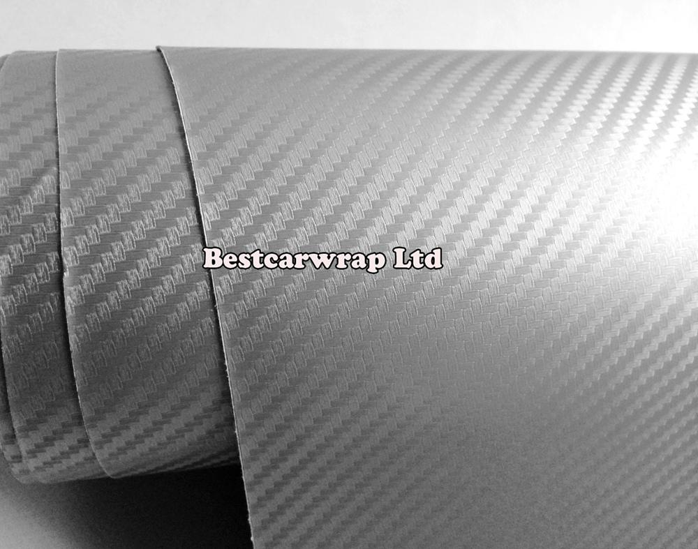 Высокое качество серебро 3D углеродного волокна винила углеродного волокна автомобиля оборачивая фильм Foile с утечкой воздуха для автомобиля графический бесплатная доставка 1.52x30m / Roll