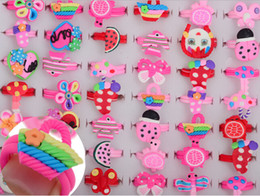 Wholesale American Polymers - Fashion Jewelry Wholesale Polymer Clay Alloy Children Cartoon Ring Finger Rings 100pcs lot Mixed Color [GA01003*100]
