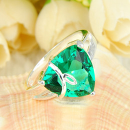 Wholesale Prasiolite Sterling Silver Rings - 2pcs lot Wholesale Holiday Jewelry Gift FREE SHIPPING 925 Sterling Silver Green Amethyst Prasiolite Gems Ring R0270