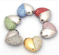 5pcs / lot Swarovski Crystal Heart USB 2.0 Memory Stick Flash Pen Drive 2 Go 4 Go 8 Go 16 Go + Boîte cadeau
