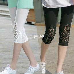 Wholesale Ladies Capris Lace Leggings - New Arrival Summer 100% Cotton Women's Capris Pants Patchwork Lace Trousers Slim Panties Hot Sale Lady Leggings Free Shipping
