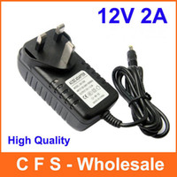 Wholesale 12v 2a Dc Charger - 100pcs AC 100-240V to DC 12V 2A UK Plug Power adapter charger Power Supply Adapter 3 Pin 5.5mm x 2.1mm for Led Strips Lights Free shipping