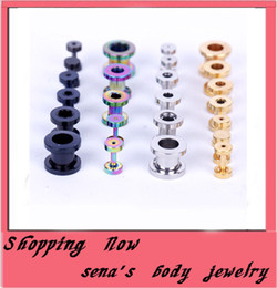 Wholesale Ear Plug Body - Mix 2-10mm 8 Size Mix 4 Color Stainless Steel Flesh Tunnel Ear Plug Tunnel Body Piercing