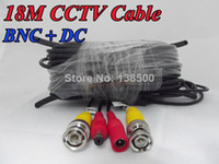 Wholesale Cord Cctv - Free Shipping Wholesale 4 x 60ft 18M CCTV BNC Video Power Cable DVR Surveillance Wire Security Camera Cord Packed