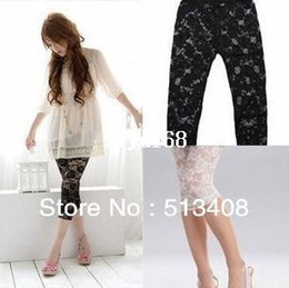 Wholesale Lace Slimming Pants For Women - Drop shipping Sexy leggings for womens Vintage Lace leggings rose flower leggings tight pants trousers