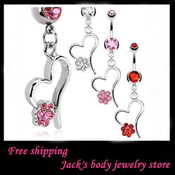 Piercing jewelry CF038 12pcs/lot .mix 3 color stainless steel body jewelry fashion navel ring belly bar belly ring