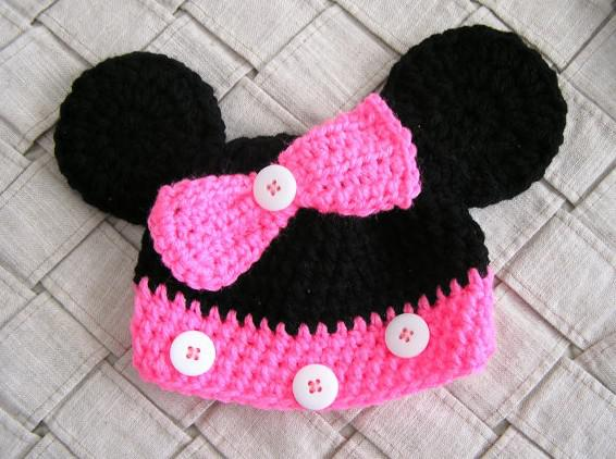 Crochet Bow Minnie Mouse Knitted Hat Baby Cartoon