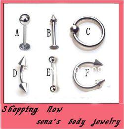2019 piercings grátis Frete grátis, atacado 300 pçs / lote mix 6 stylebody piercing jóias nariz anel labret anel desconto piercings grátis