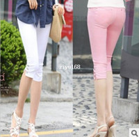 Wholesale Candy Pants Bootcut - Free shipping new women summer casual candy color skinny slim pencil pants trousers capris plus size S M L XL XXL XXXL KZ9012