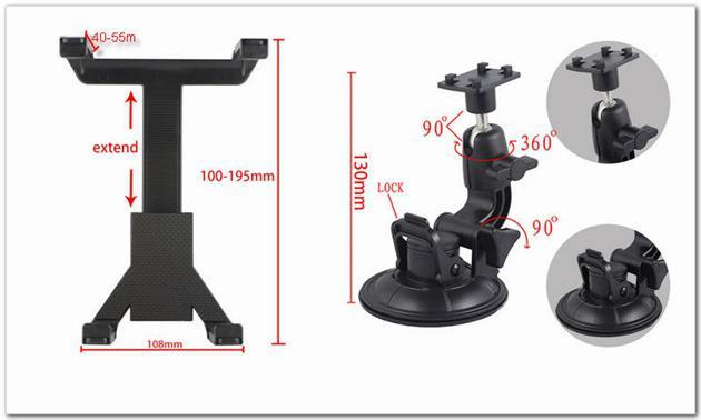 Universal Windscreen Car Mount Holder Justerbar för 7-10,1 tum Tablet PC iPad Mini P1000 GPS Navigator Nackstöd Sugkopphållare Set