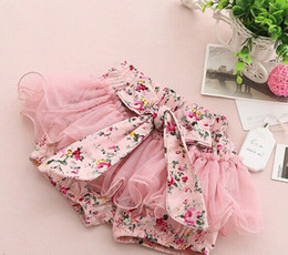 Lacets À Nœud Élastique Pas Cher-2016 Summer coréenne Bébés filles tout-petits enfants Floral Grand papillon Bow noeud Gauze Lace Bubble Jupe Tutu shorts d'enfants Elastic court Pant F0201