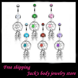 Wholesale Belly Button Ring 14g Surgical - Belly ring CF115 mix 10 colo 10pcs Nickel-free Dream Catcher Dangle Belly Rings Crystal Gem Fashion Body Piercing Jewelry Surgical Steel 14G
