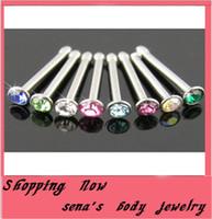 burun pimleri toptan satış-Vücut piercing takı 100 adet / grup mix 10 renk paslanmaz çelik düz burun damızlık burun pin
