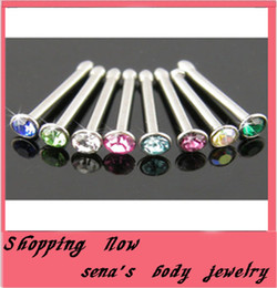Wholesale Pin Nose - body piercing jewelry 100pcs lot mix 10 color stainless steel straight nose stud nose pin