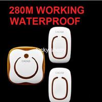 kapı zili menzil toptan satış-2 emitter + 1 alıcıları Su Geçirmez 280 M Uzun menzilli kablosuz kapı zili, kablosuz kapı ahenge, 48 melodiler çan YIROKA124dLS