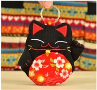 Wholesale Wholesale Purse Decorations - 11 Colors Mascot Lucky Cat Decoration Embroidery keychain keys wallet Purse change pocket holder