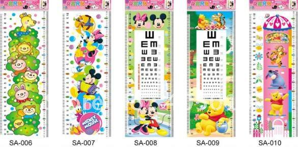 2673cm Cartoon Growth Ruler Wall Sticker 75 140cm Height Chart