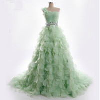 Wholesale Light Green One Shoulder - 2015 Luxury Light Green Wedding Dresses Petal Tiered One Shoulder Beading Bridal Gown A-line Bridal Dresses Red Ball Gown Court Train