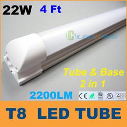 $enCountryForm.capitalKeyWord Canada - Integrated 4ft T8 LED Tube Light with base 22W 1.2m LED fluorescent SMD2835 High brightness 2200LM AC85-265V CE FCC ETL 50pcs lot