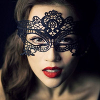 Wholesale Lady Masquerade - Fashion Hot New Masquerade Halloween Exquisite Lace Half Face Mask For Lady Black White Option Fashion Sexy