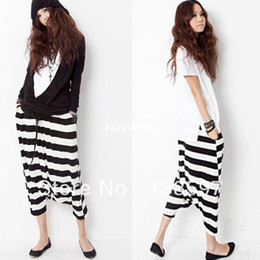 Crotch À La Croche Pas Cher-Cropped Striped Hip hop Drop Crotch Baggy Women Loose Fashion Haroun Harem Yoga Pantalons Pantalons Livraison Gratuite