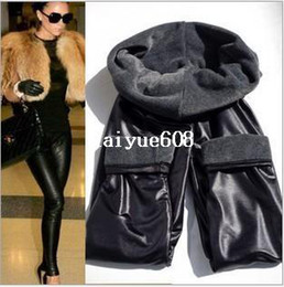 Wholesale Leather Pants Skinny Jeans - new 2014 thickening black leather boots leggings skinny pants winter warm women's trousers winter pants for women high quality