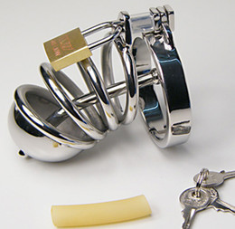 Chastity Ring Sizes Canada - New Arrived Male Stainless Steel Craft Chastity Device short With Urethral Plug Lock Fetish Metal 5 Size Ring To Chose Adult SEX TOYS