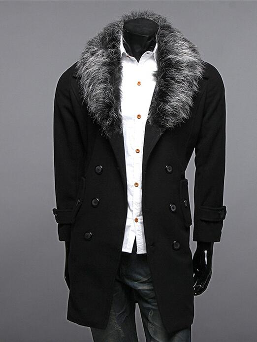 2017 Fashion New Men Trench Coats Slim Fit Casual Fur