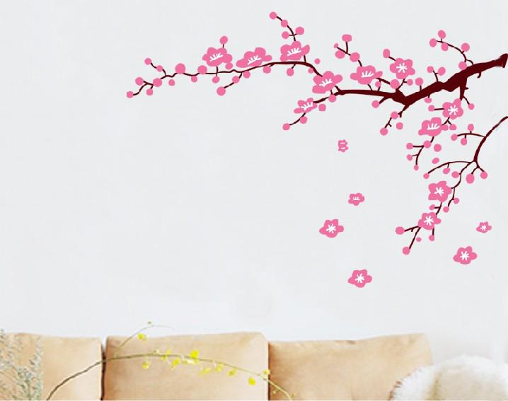 jm7119 pink flower wall stickers tree branch bedroom wall sticker 60